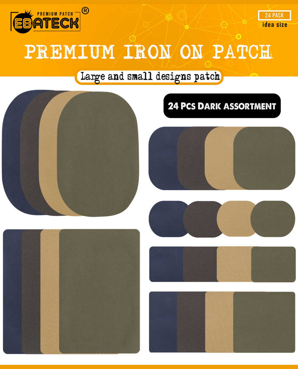 Easy to Carry to Travel,Home Iron On Denim Patches for Clothing Jeans 12 Pcs No-Sew Denim Patches Assorted Cotton Jeans Repair Kit Sewing Repair Patches